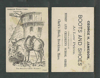 1880s BOOTS & SHOES BROCKTON MA VICTORIAN TRADE CARD AMERICAN PUZZLE CARD MILLER