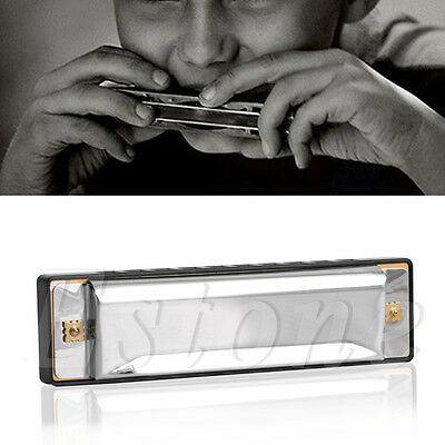 10 Hole Harmonica Key of C for Blues Rock Harmonicas Stainless Steel with Case
