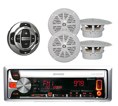 "Kenwood Marine CD/USB iPod Pandora Bluetooth Stereo W/4"" Speakers + Wired Remote"