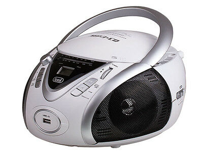 Trevi Portable Stereo Boombox with CD AM FM Radio & USB In White FREE DELIVERY