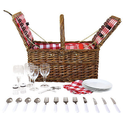 4 Person Unpeeled Willow Wicker Picnic Basket Hamper Set - Checked Lining