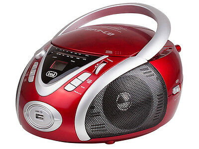 Trevi Portable Stereo Boombox with CD AM FM Radio & USB In RED FREE DELIVERY