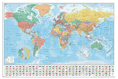 World Map With Flags And Facts Poster New - Maxi Size 36 x 24 Inch