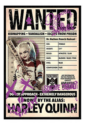 Framed Harley Quinn Wanted Suicide Squad Film Poster New