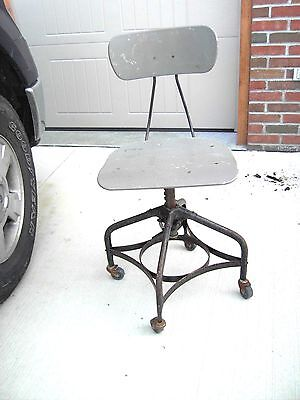 Antique/Vintage 1950's Industrial Age Toledo Metal Chair Co Drafting Stool