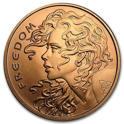 1 oz 999 Kupfer Copper Kupfermünze Medaille Freedom Girl Silver Shield Selten