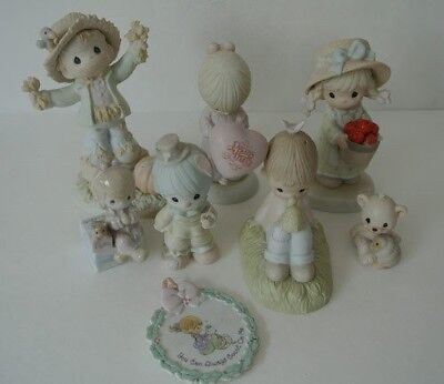 LOT 8 Precious Moments Figures Figurines LIGHTLY DAMAGED - REPAIRED - LOOK GREAT