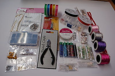 Job Lot-Jewellery Making-pliers/wire/findings/beads/kits/kumihimo/wine charms