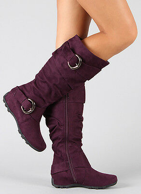 Purple Faux Suede w Double Buckle Straps and Zipper Slouchy Knee High Flat Boots