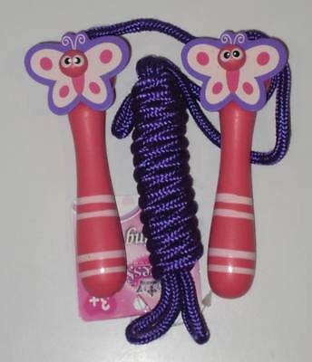 Girls Traditional Wooden Painted Skipping Rope: 3 Designs Heart Butterfly Flower