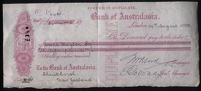 1908 LONDON-BANK of AUSTRALASIA Bill of Credit drawn on CHRISTCHURCH New Zealand
