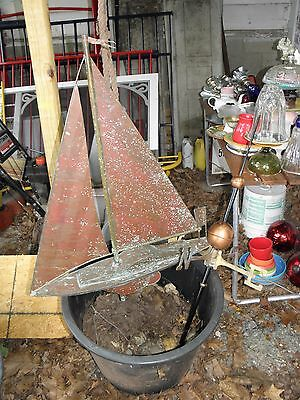 Copper  Patina Sailboat Weathervane, Copper Balls And Brass Directionals