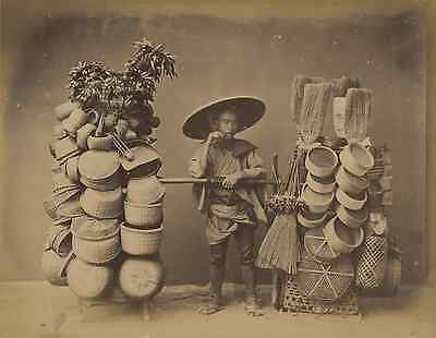 Japon, Basket Seller Vintage Albumen Print, Japan Tirage albuminé  20x25