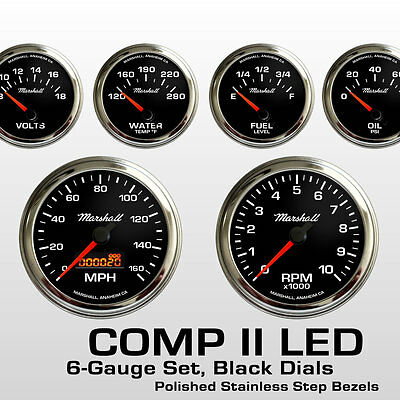 C2 6 Gauge Set, Black Dials, Stainless Step Bezels, Electric Speedo 2064STP