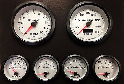 C2 6 Gauge Set, Silver Dials, Black Bezels, Programmable Speedo, 0-90 Ohm Fuel
