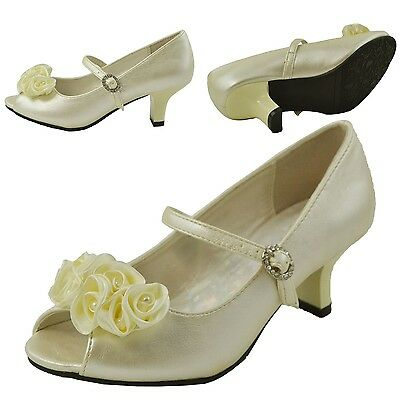 05ad4e25f980e5 Girls Kitten Heel Peep Toe Pumps w/ Rhinestone Flower Accent Ivory Size 9-4