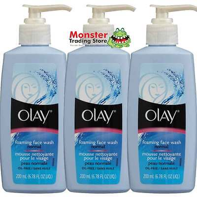 3 x OLAY FOAMING FACE WASH NORMAL 200ML BRAND NEW & ORIGINAL UNOPENED