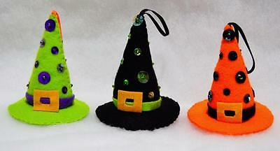 """Set Of 3 Hand~Crafted 4"""" Felt Halloween Witch Hat Tree Ornaments W/sequins~Beads"""