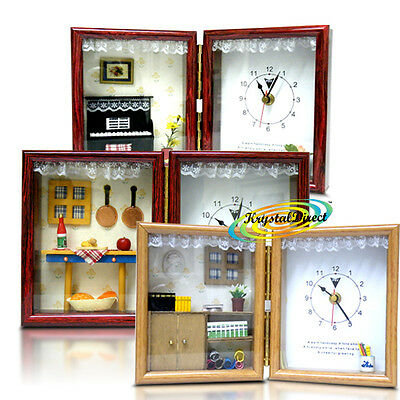Folding Mini Theme Beautiful Novelty Gift Analogue Clock With Wooden Look Frame