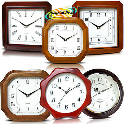 Classic Wood/Wooden Analogue Traditional Battery Operated Quartz Wall Clock
