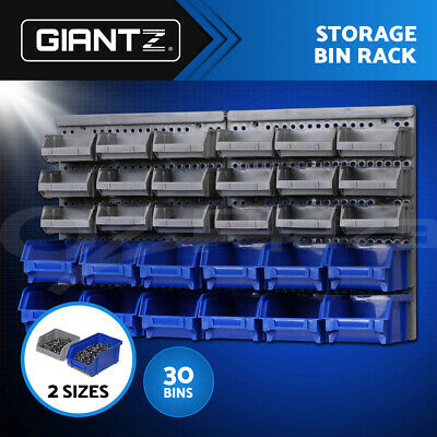 New 30 Bin Wall Mounted Rack Storage Organiser Shed Work Bench Workshop Garage