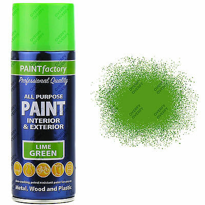 3 x 400ml All Purpose Lime Green Gloss Spray Paint Household Car Plastic