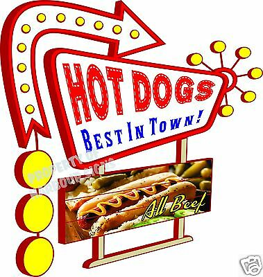 """Hot Dogs Decal 14"""" Best in Town Concession Food Truck Restaurant Menu Vinyl"""