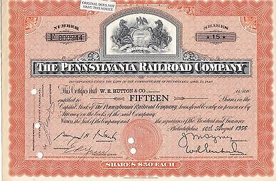 Pennsylvania Railroad Company Stock Certificate, 1956