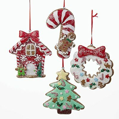 Candy Cookie Gingerbread Christmas Ornaments Set 4 ka d2681 NEW Shelley B