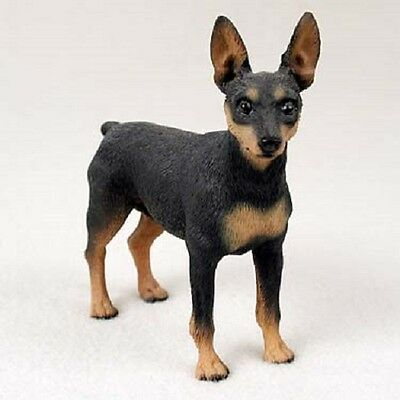 MIN PIN Dog Figurine HAND PAINTED Statue Black Tan Puppy NEW MINIATURE PINSCHER