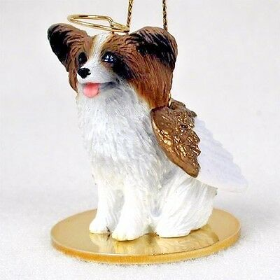 PAPILLON dog ANGEL Ornament HANDPAINTED Figurine NEW Christmas brown white puppy