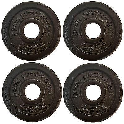 "Cast Iron Weight Plates 4 x 0.5 kg Barbell Plate 1"" Dumbbell Weights Disc Plate"