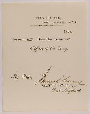 1863 Civil War Document Fort Columbus NY Headquarters Officer of the Day Orders