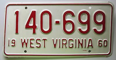 West Virginia 1960 License Plate SUPERB QUALITY # 140-699