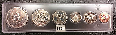 1964 Canada Proof Like 6 Coin (4 Silver) PL Uncirculated Set - Hard Plastic Case
