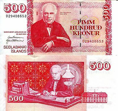 ICELAND 500 Kronur Banknote World Paper Money UNC Currency p58b Bill Note