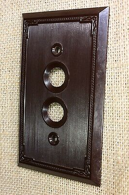 single push button wall old Switch Plate brown Bakelite vintage 1900 NOS Dot