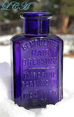 Beautiful DEEP PURPLE antique BENDOLINE Hair DRESSING bottle IMPERIAL PERFUME Co