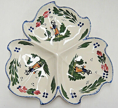 Blue Ridge Southern Pottery French Peasant 3 Part Snack Tray Leaf Shape Platter