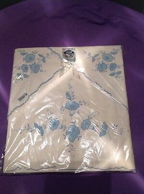 Vintage Heritage Sheet & Pillow Case Hand Embroidery White Blue Sealed Sz Double