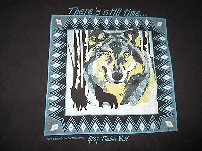 "Vintage 1994 GRAY TIMBER WOLF ""There's still time"" Artist C Guire (XL) T-Shirt"