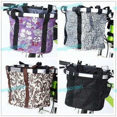 Mountain Bike Bicycle Basket Cycling Folding Bag Front Handlebar Quick Remove