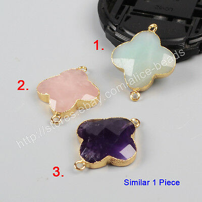 1Pcs Natural Rose Quartz Amazonite Amethyst Faceted Gold Plated Connector HG0945