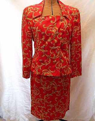 Chic Vintage *maggy Boutique Red & Gold 80S Power Suit Smart To The Knee Size 12
