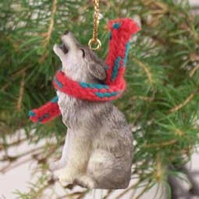 TIMBER WOLF Scarf Ornament RESIN Figurine statue NEW Christmas Holiday ANIMAL