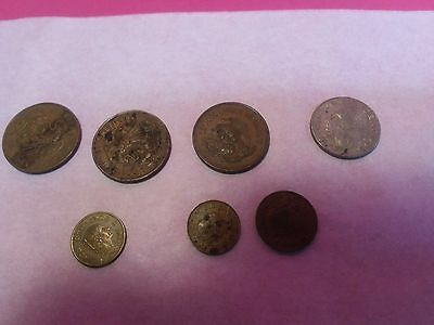 Lot Of 7 Older Mexican Coins. See Details And Descriptions