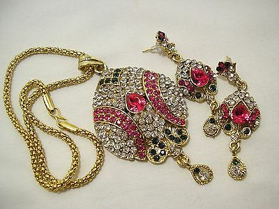 New/retro Sparkle Pink/clear Rhinestone Pendant Necklace &pierced Earrings Set