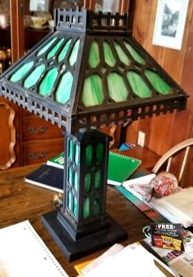 "Arts & Crafts Mission Iron ""GAS FLAME"" Table/Newel Lamp Stained Glass Shade Base"