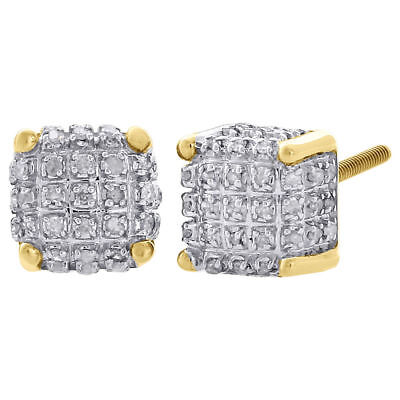 10K Yellow Gold Real Diamond Stud 7mm 3D Cube Square Mens Pave Earrings 0.33 Ct.
