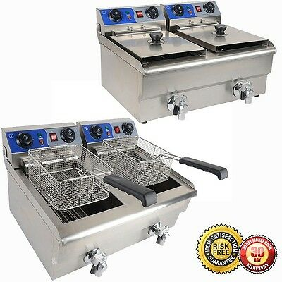 New Commercial Deep Fryer 20L w/ Timer and Drain Fast Food French Frys Electric